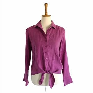 Anthropologie Cloth & Stone Front Tie Top Size XS